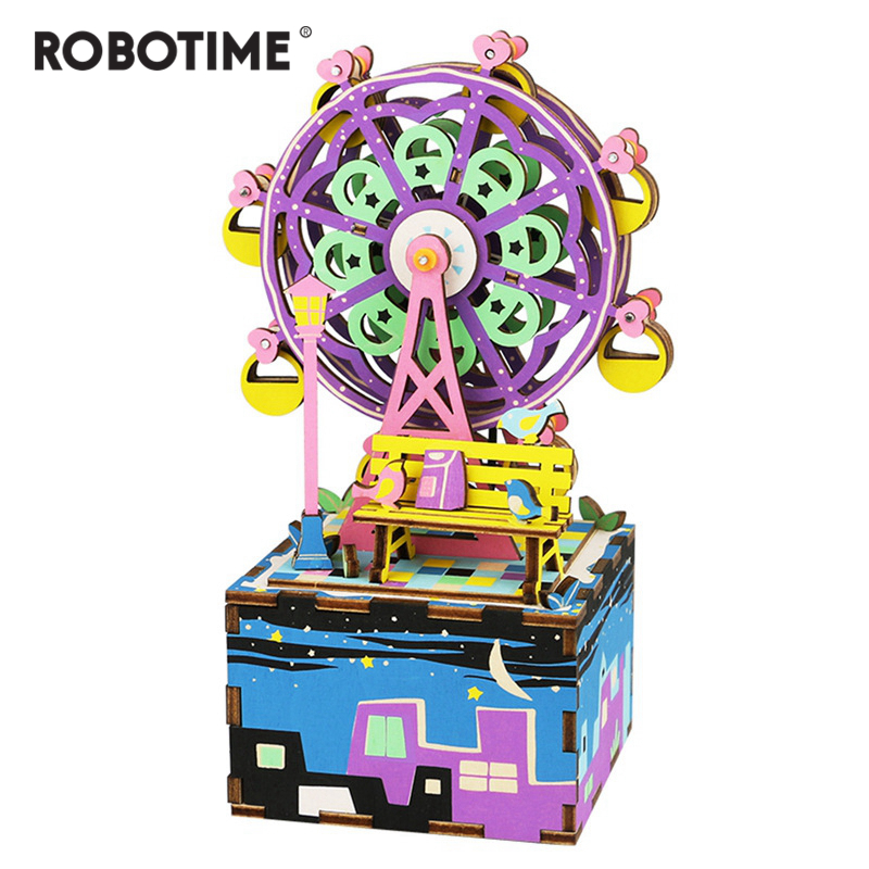 Robotime 3D Puzzle DIY Cool Mechanism Gift Wooden Greeting Souvenir Birthday Present Music Box Ferris Wheel AM402