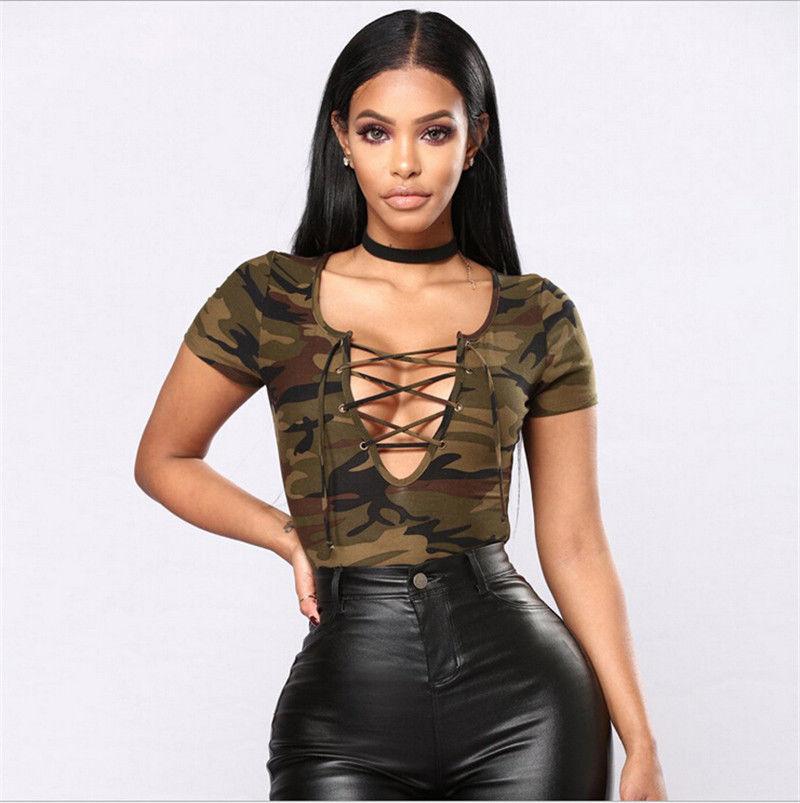 Bra-Crop-Top T-Shirt O-Neck Hollow Casual Fashion Women Sleeveless Camo Army