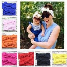 2pcs/set Mom and Me Solid Turban Headband Top Knotted Rabbit Ears Elastic Bowknot Headband Mommy Newborn Hairband