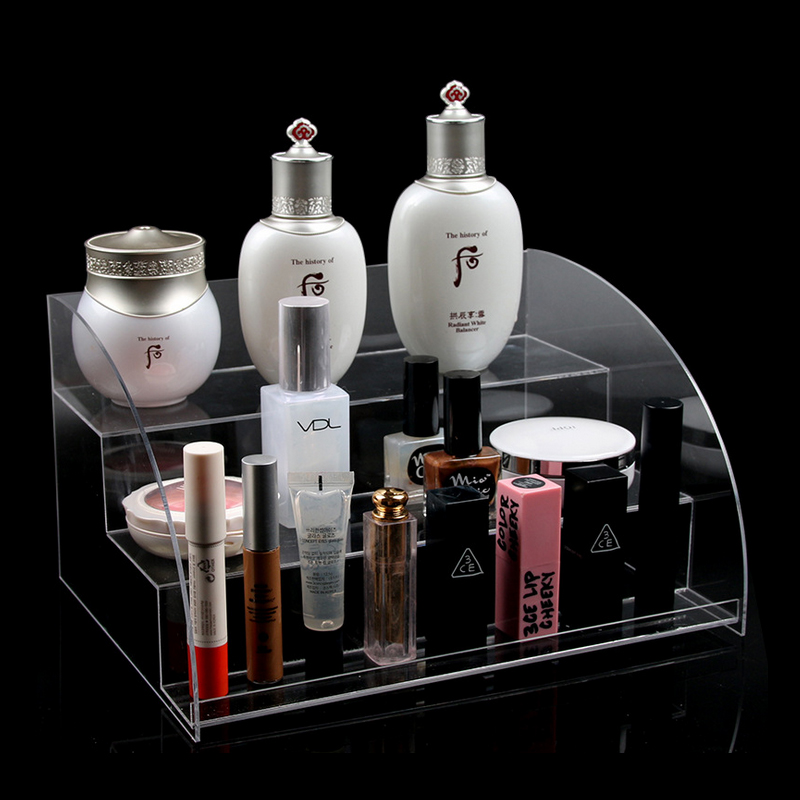 Acrylic Makeup Cosmetic 3 Tiers Clear Organizer Lipstick Jewelry Display Stand Holder Nail Polish Rack 28.5X22X15.5cm display stand clear acrylic cosmetic organizer makeup case storage makeup organizer organizator makeup brush control holder