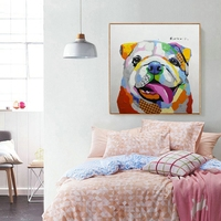 SharPei Hand Painted Oil Painting on Canvas Home Decorations Cute Animal Handmade Artwork Wall Art Painting for Bedroom Office