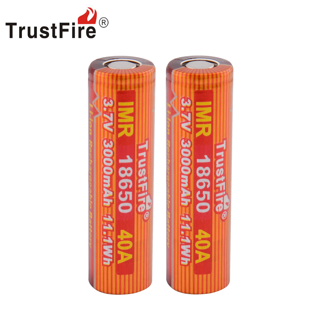 5pcs/lot TrustFire IMR 18650 3.7V 40A 3000mAh Li-ion Rechargeable Battery with Safety Relief Valve for LED Flashlight