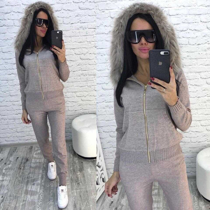 New 2019 Autumn Winter Women Knitted Tracksuit Fur Collar Zipper Hooded Coats Elastic Casual Pants 2