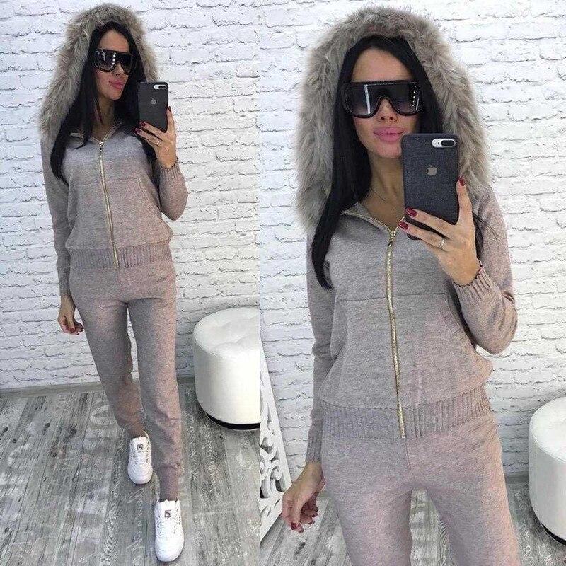 New 2020 Autumn Winter Women Knitted Tracksuit Fur Collar Zipper Hooded Coats+Elastic Casual Pants 2 Pieces Set Women Knit Suit
