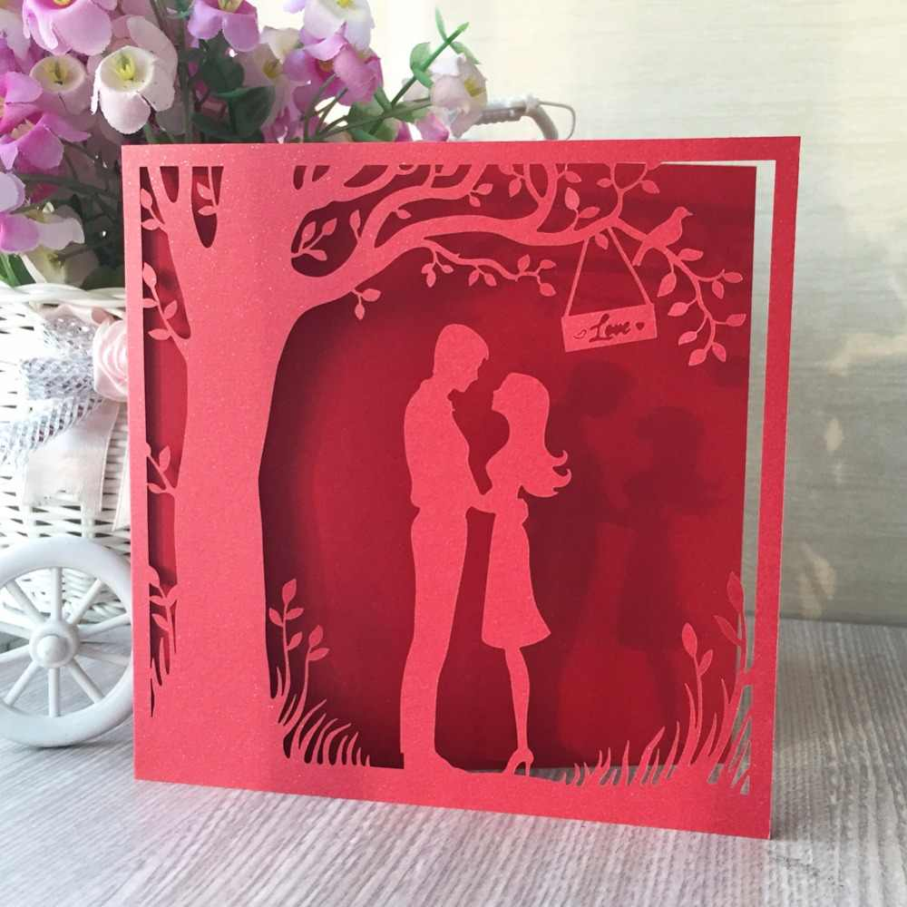 50pcNew Merry Christmas Tree Vintage laser cut chinese red pearl paper custom greeting cards Christmas gifts souvenirs postcards,light purple