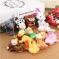 12 Pçs/set Família Finger Puppets Pano Boneca de Mão Educacional Toy Adorável 12 Animais de Brinquedo de pelúcia Macia Brinquedos Boneca Para As Crianças brinquedo