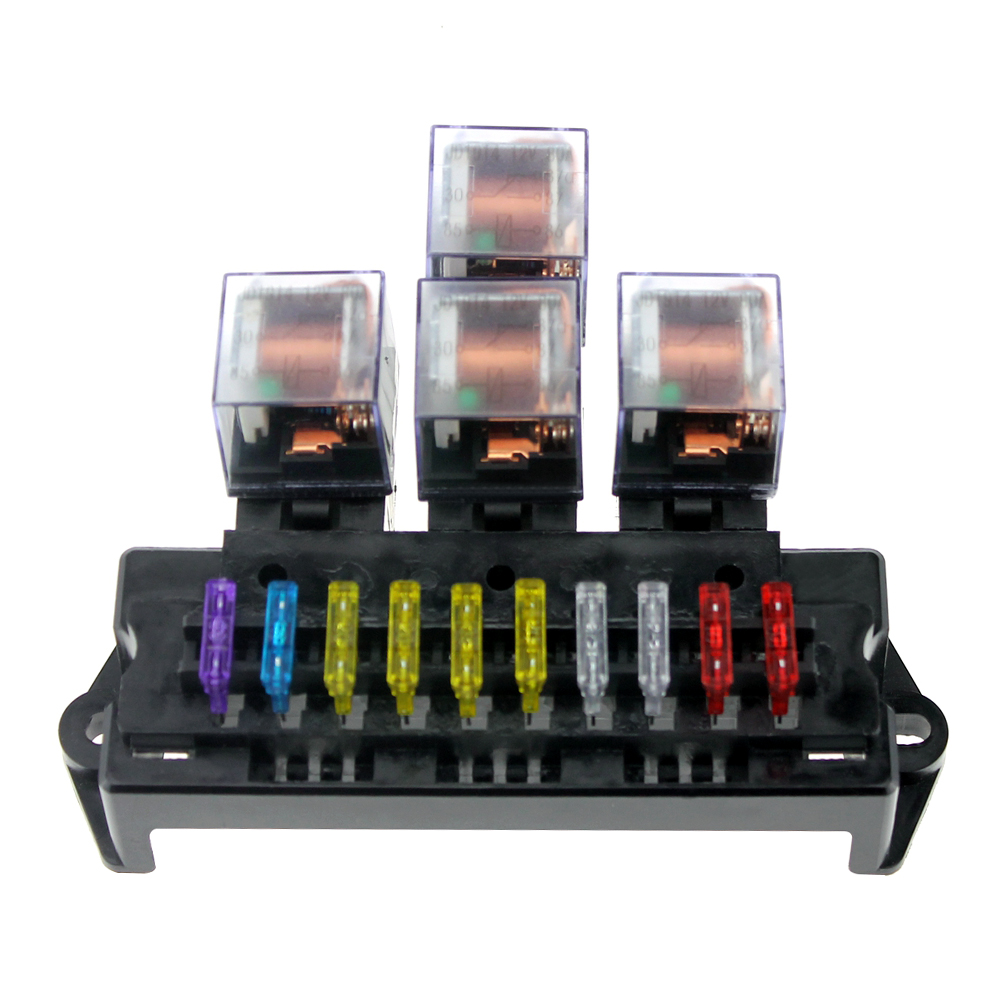 us $14 13 32% off 10 way fuse box 5 pin socket base relay fuse holder block with 13pcs standard blade fuses universal for auto interior parts in fuses marine fuse block heavy duty waterproof fuse relay box