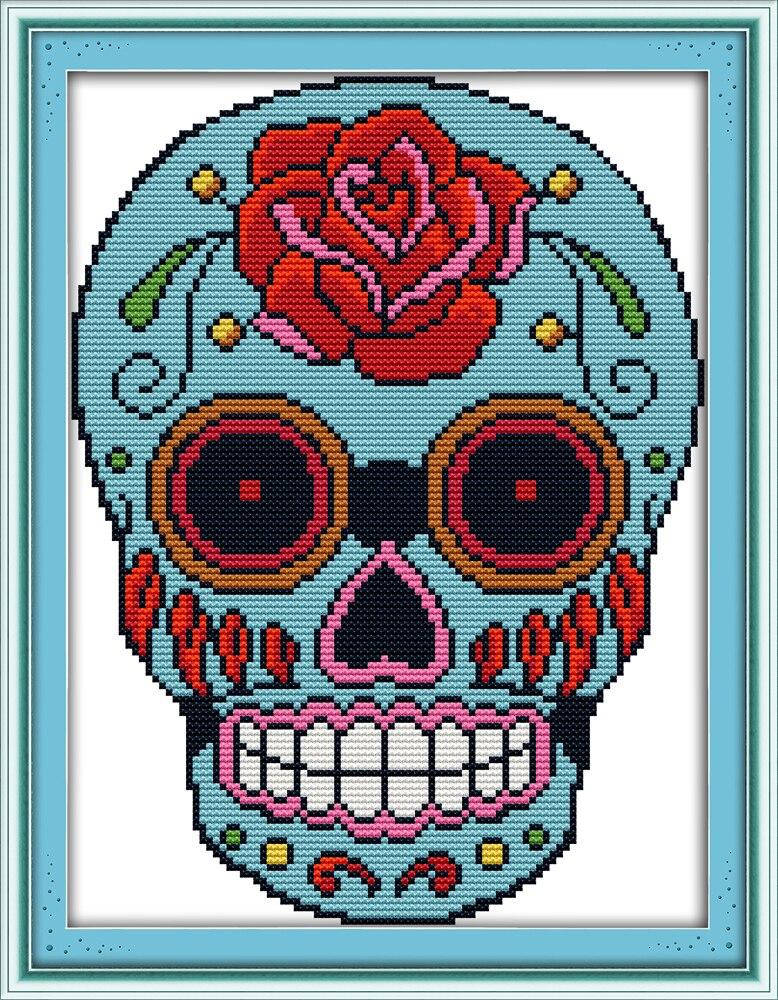 Rose Skull Counted Cross