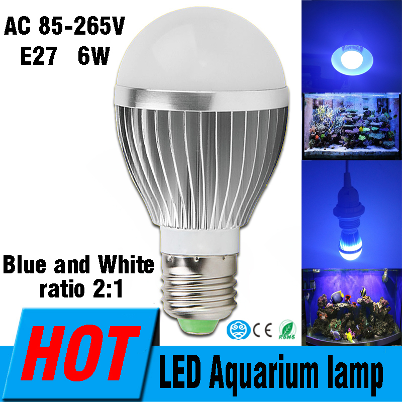 E27 LED Aquarium Lights 110V 220V 6W, Provide Fish Tank Illumination And Plants E27 Blue White Water Grass Coral Grow Lights