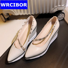 2017 Women Casual shoes fashion Women's pumps wedges pointed toe rivets high heels genuine leather woman leisure moccasins