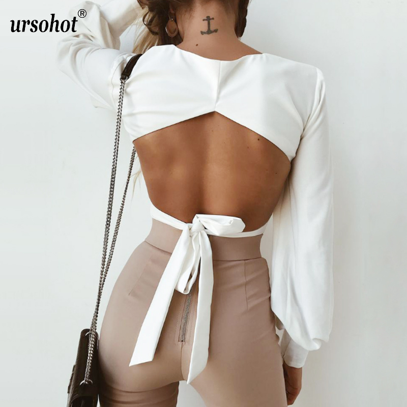 Ursohot Fashion Open Back Lantern Sleeve   Blouse     Shirts   Women 2018 Summer Square Neck Bandage Tops Streetwear White Cropped Tops