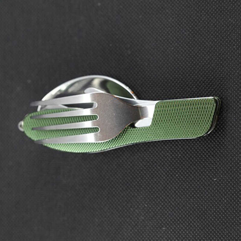 Многофункциональный Открытый Кемпинг пикника столовая посуда, нержавеющая сталь столовые приборы 4 в 1 складной нож-вилка открывалка для бутылок набор посуды
