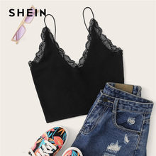 SHEIN Zwart V-hals Lace Trim Cami Crop Top Lady Streetwear Spaghetti V-hals Solid Slim Fit Sexy Top vrouwen Zomer Tops(China)