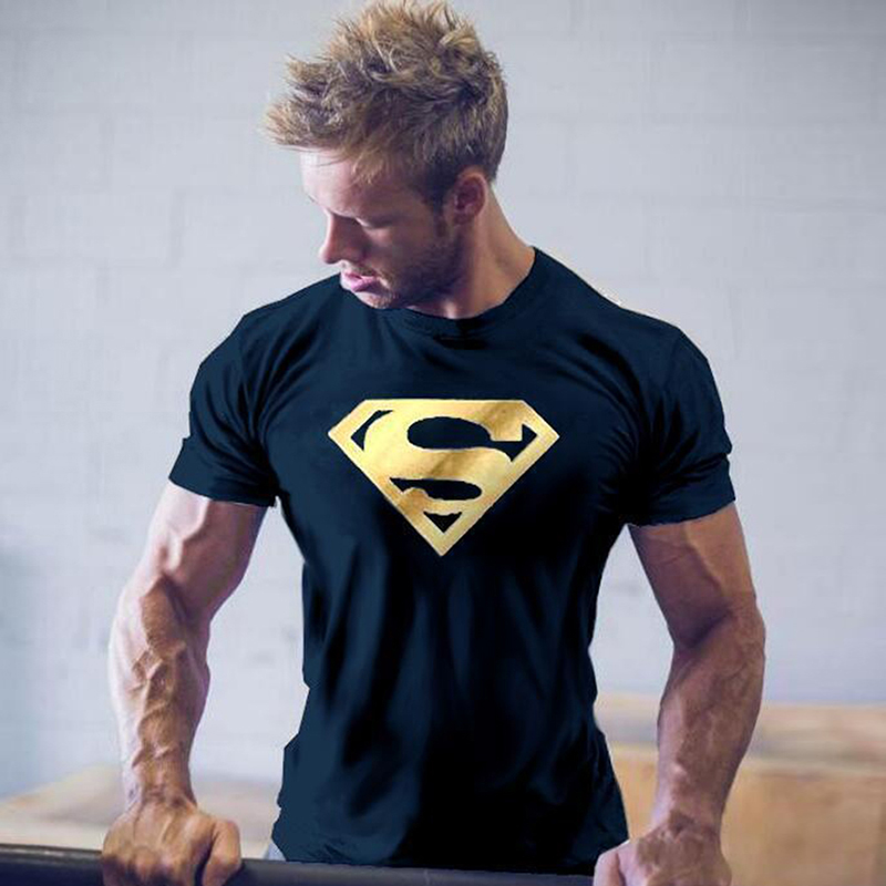 Superman superhero printed mens t shirt muscle gym fitness for Gym printed t shirts