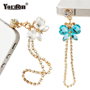 YOKIRIN Crystal Sequins Butterfly Diamond Chain Tassel Phone Dust Plug Earphone Jack Plug for All of 3.5mm Headphone Hole Phone