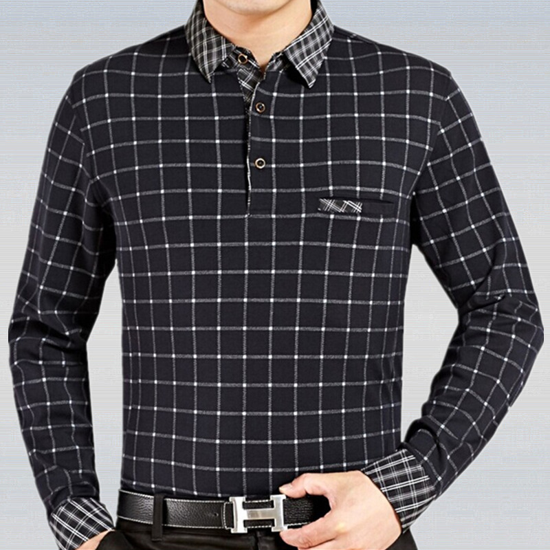 2019 Business Long Sleeve Plaid Patchwork   Polo   Shirt Men Fashion   Polo   Male Casual Contrast Collar Shirts Wear Top Green Red Grey