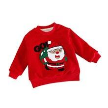 Новинка года; зимний хлопковый свитер с длинными рукавами и рисунком Санта-Клауса для маленьких мальчиков и девочек; Повседневная Верхняя одежда