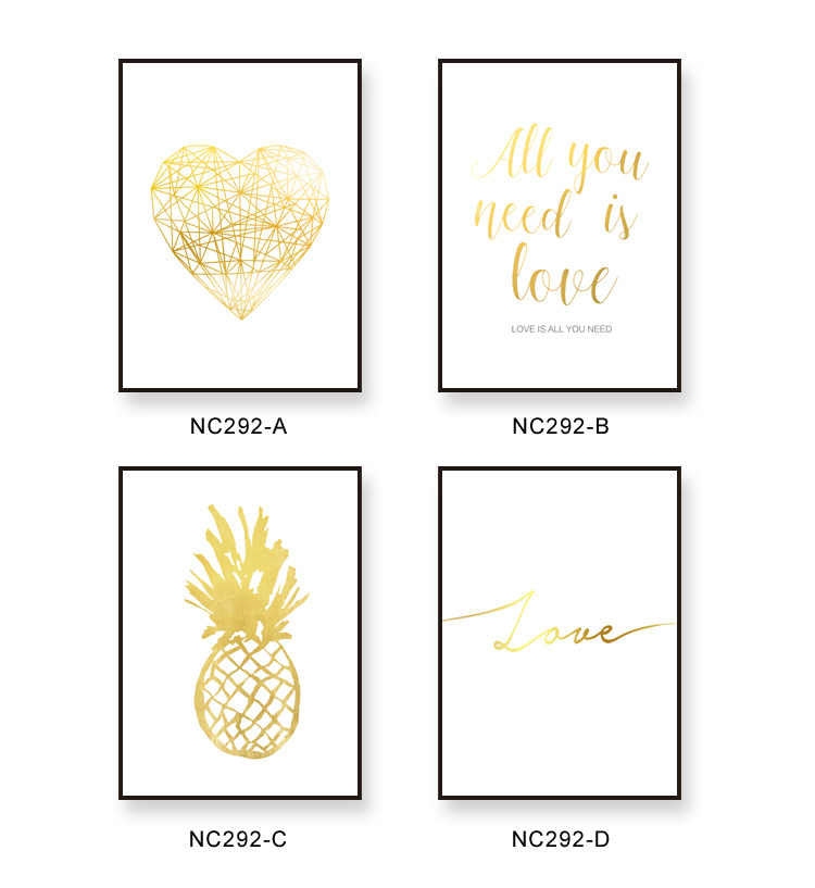 Modern Minimalistic Golden Pineapple Alphabet Love Heart Canvas Art Print Poster, Wall Pictures for Living room