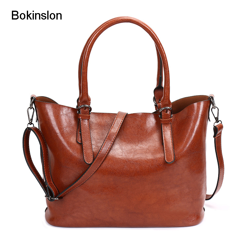 Bokinslon Woman Leather Handbags Solid Color PU Leather Ladies Crossbody Bag Fashion Large Capacity Women Shoulder Bags