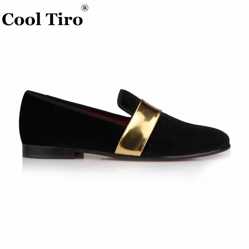 Com Tiro Casamento Sapatos Handmade Loafers Flats Velvet Preto De Legal Smokingslippers Dos Ouro Homens Fivela Couro Festa Vestido Da A6wHPx