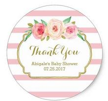 1.5 дюйма роза в полоску розовый Цветочные Детские душ пользу метки Классический круглый Стикеры