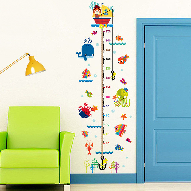 large removable measure height sticker cartoon cats fishs sea world