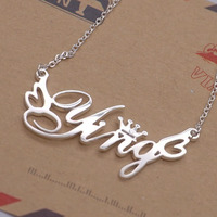 925 Sterling Silver Jewelry Personalized Photo Name Necklace Choker Necklace Shadow Carving Carved Private Custom Jewelry