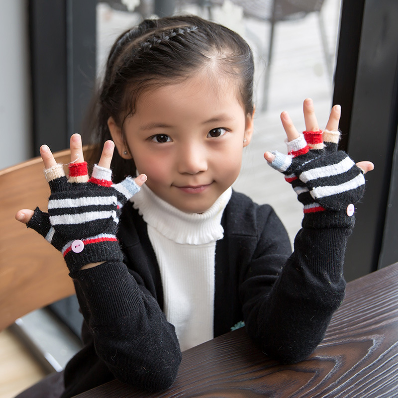 ФОТО 10pairs/set Knitted Wool Baby Children Fingerless Gloves Flexible Half Finger Mittens New Year Autumn Winter Guantes A22