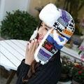 Горячая распродажа классический женщин теплая зима мочка уха крышка мода отпечатано олень русский ловец дамы вязаная меха авиатор бомбардировщик шляпа