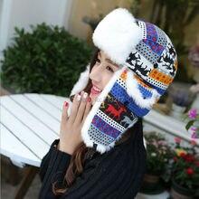 Hot Sale Classic Women Warm Winter Earflap Cap Fashion Printed Deer Russian Trapper Hat Ladies Knitted Fur Aviator Bomber Hat