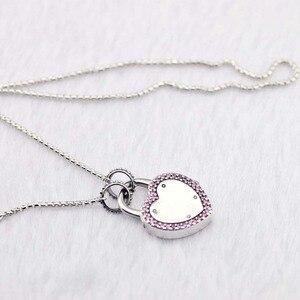 Image 4 - Подлинное серебро 925 пробы чокер замок ожерелья ваше обещание подвески ожерелья женские ювелирные изделия колье оптовая продажа