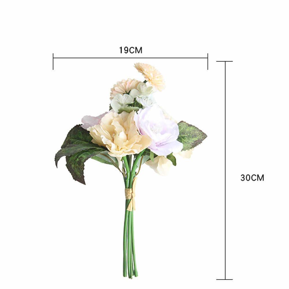 Bunga Buatan untuk Dekorasi Peony Sutra Kecil Buket Flores Pesta Musim Semi Pernikahan Dekorasi Mariage Palsu Bunga 2020 64P