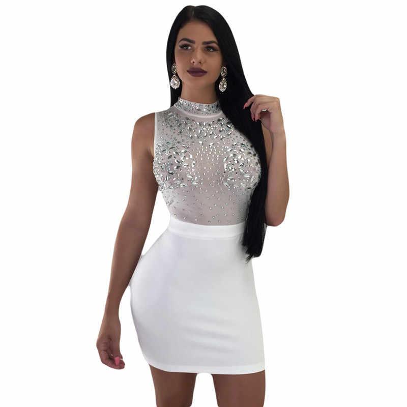 36c0155f New Sexy Rhinestones Diamonds Sparkly Dresses Women Turtleneck Sleeveless  Mesh Sheer Elegant Nightclub Party Bodycon Mini