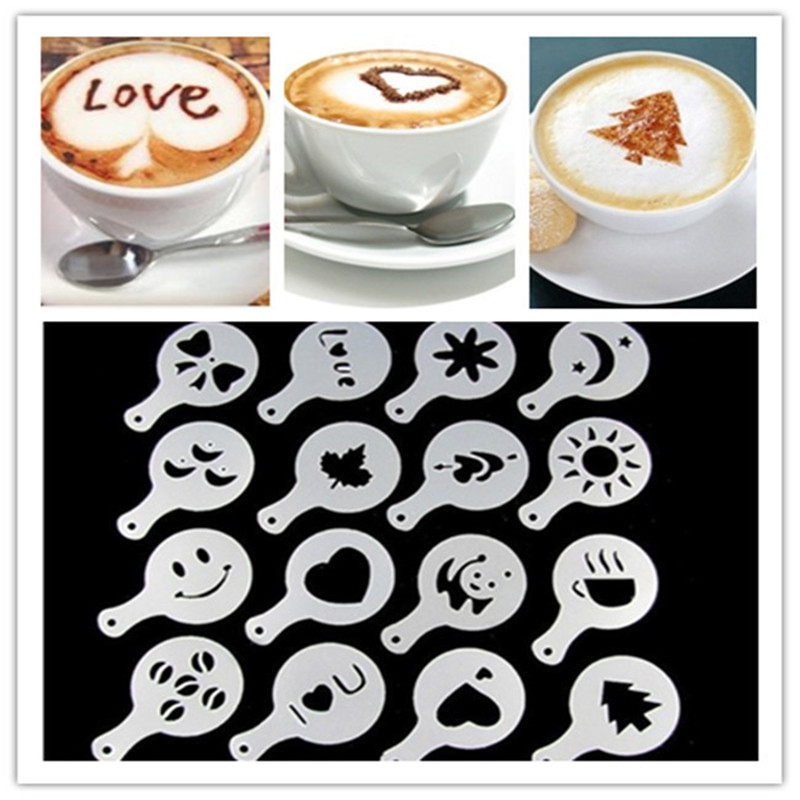 16pcs Set Home Decoration Mold Coffee Decor Kitchen Cappuccino Coffee Barista Stencils Template Strew Pad