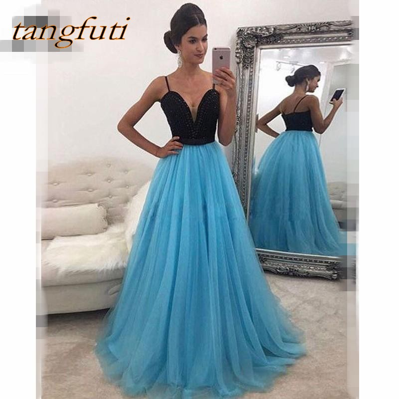 A Line   Prom     Dresses   Long Tulle Beaded Sexy Sweetheart Women Party   Prom   Gowns Evening Party   Dress   Gowns Wear On Sale 2018