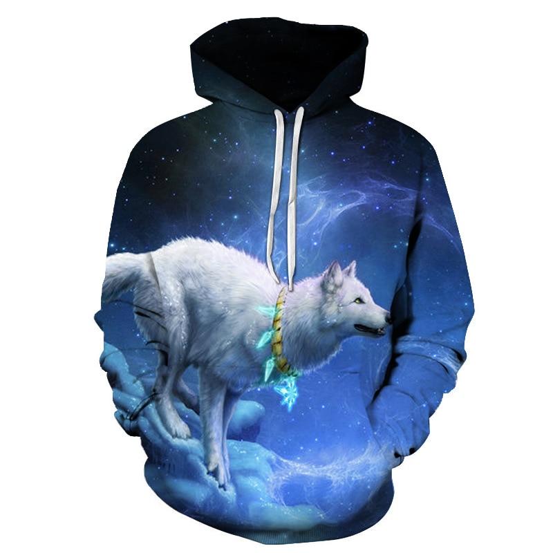 Hoodies & Sweatshirts Beautiful New Ice Fire Double Wolf Head 3d Digital Printing Hat Couples Vest