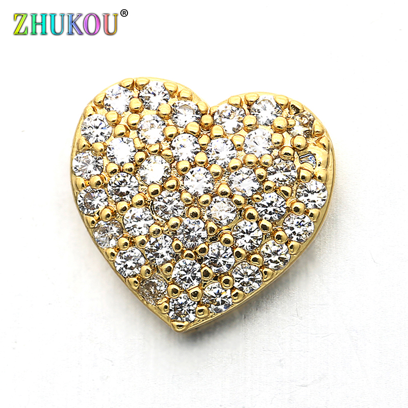 10*10mm Brass Cubic Zirconia Heart Charms Connectors, Heart, Mixed Color, Hole: 1mm, Model:VS225