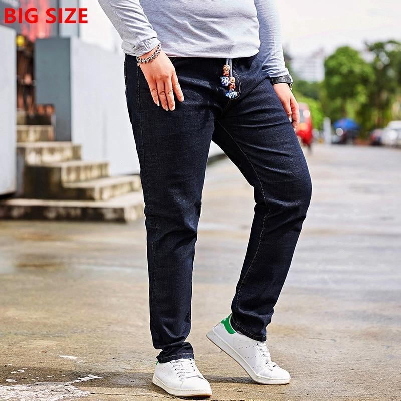 Extra large size black jeans elastic waist male stretch jeans 48 yards fat trousers large size men wangcangli jeans women shorts light blue large size denim fat sister elastic waist mid waist jeans moustache effect summer 4xl