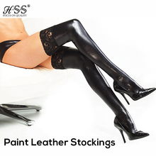 Leather leg cuffs adult sex products racy lingerie SM tune queen dress paint leather high elastic stockings temptation to sexy