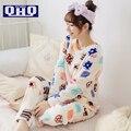 Las mujeres Pijamas de Invierno 2017 Otoño Engrosamiento de Coral Polar ropa de Dormir Niña Pullover O-cuello de Señora de manga Larga Salón de Dibujos Animados