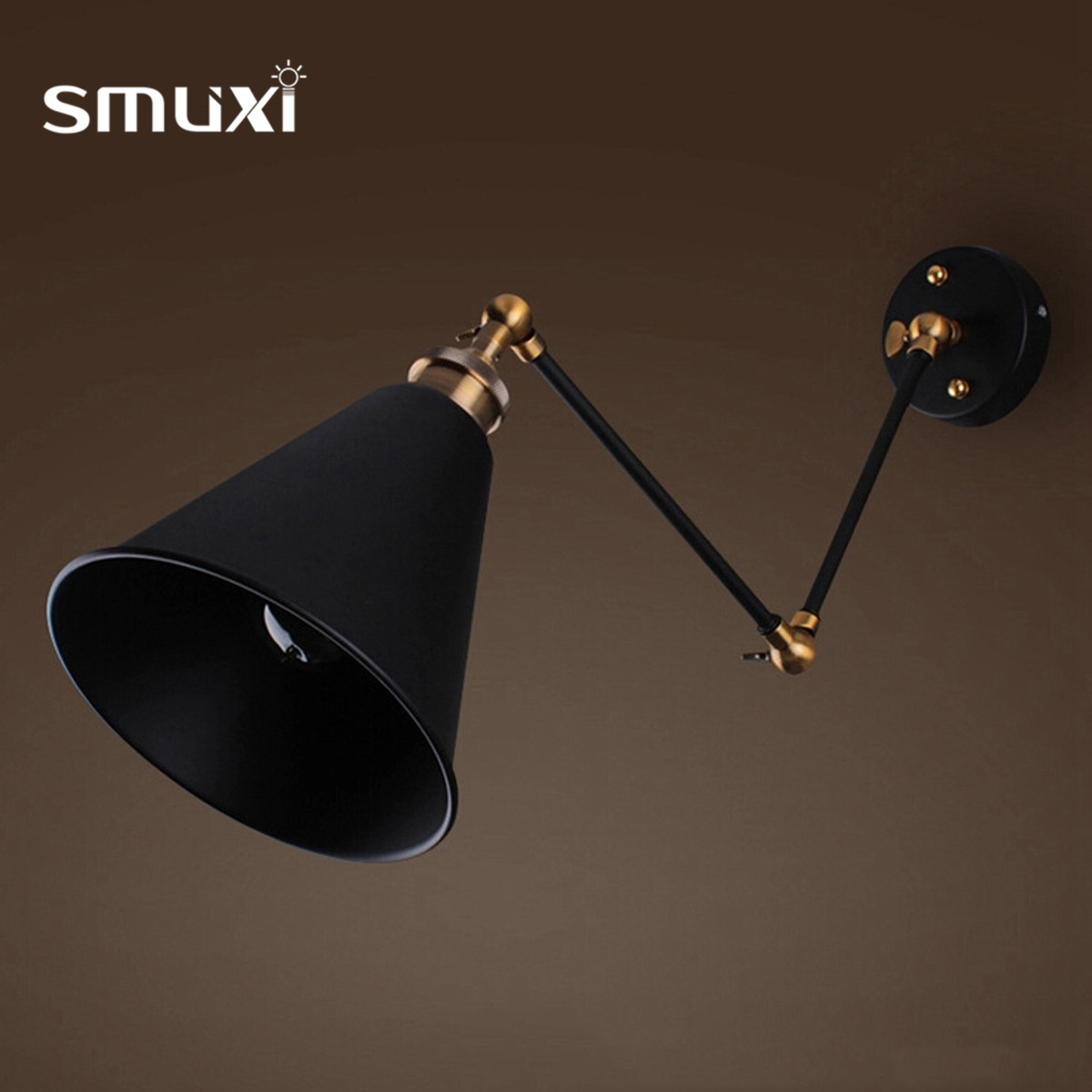 Smuxi Black Retro Ives Swan Neck Galvanised Steel Barn Clay Wall Lamp Fittings Lights Home Decoration Wall Lamps
