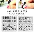 Nueva Nail Art Stamping Plantilla Cooi Nail Art Corona Placa de Acero corazón de encaje cráneo imagen konad plantilla del clavo de diy herramienta de la manicura 2017