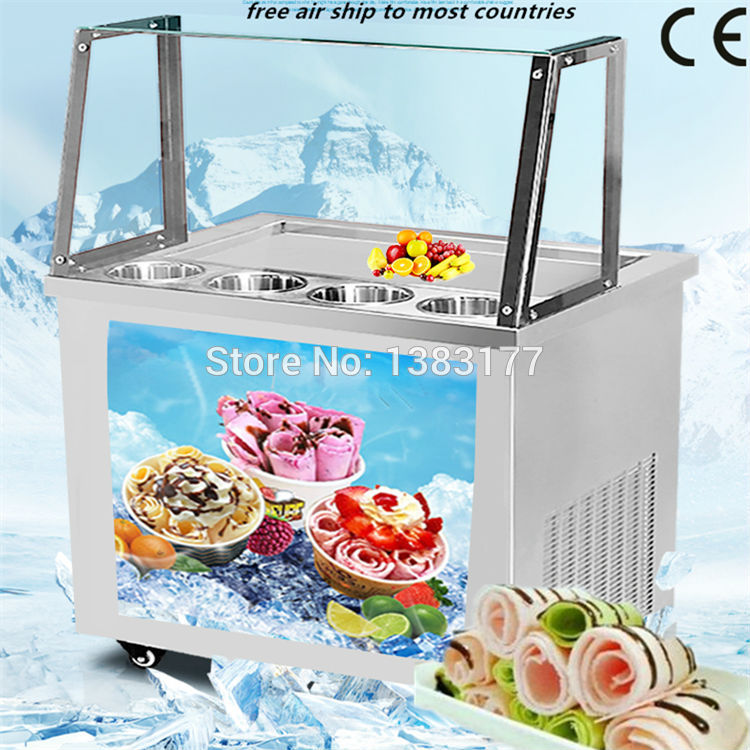 18 free air ship to your home CE thai ice machine fry ice cream rolls machine fried ice cream machine with glass cover free air ship to your home ce r410 single pan 304 stainless steel fried ice cream roll machine fried thai ice machine for sale