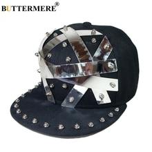 BUTTERMERE Black Hip Hop Hats For Men Sequin Street Snapback Caps Women Punk Nightclub Rivet High Quality Summer Stage