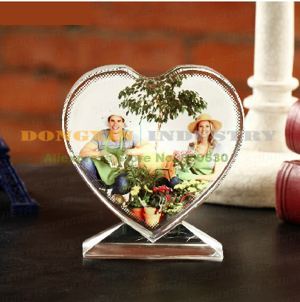 5Pcs JB-13 Heart-Shaped Blank  Crystal  Photo Frame For Sublimation Customized Picture