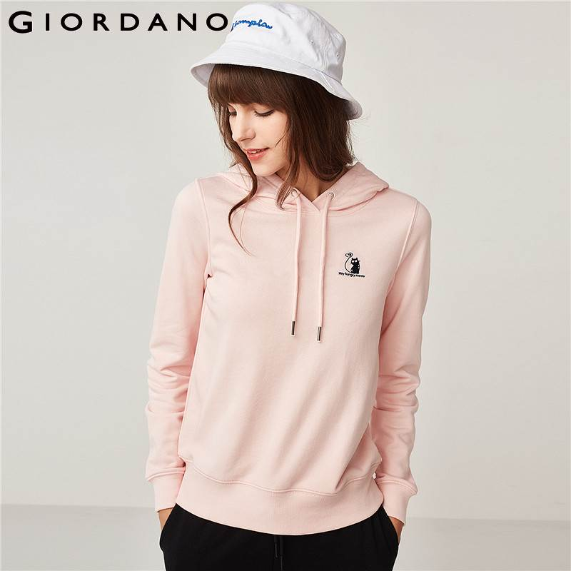Giordano Femmes À Capuche Femmes Sweat Brodé Poche Kanga Manches Longues Hoodies Femmes Cordon Broderie Animal Sweat-Shirt