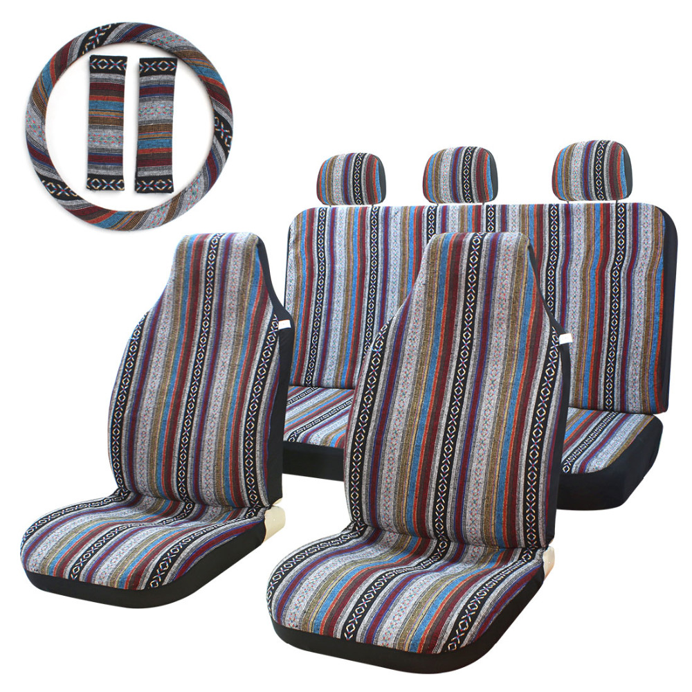 10pc stripe multi color seat cover baja saddle blanket weave universal bucket seat cover fit for. Black Bedroom Furniture Sets. Home Design Ideas