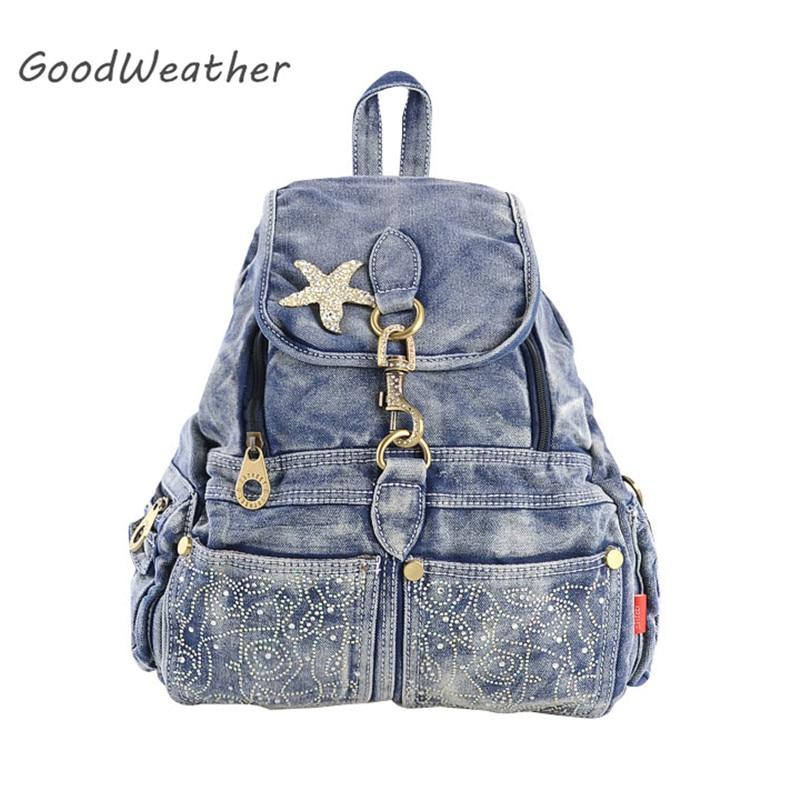 enfant grandes marques gamme complète de spécifications Designer high quality denim backpack female vintage star ...
