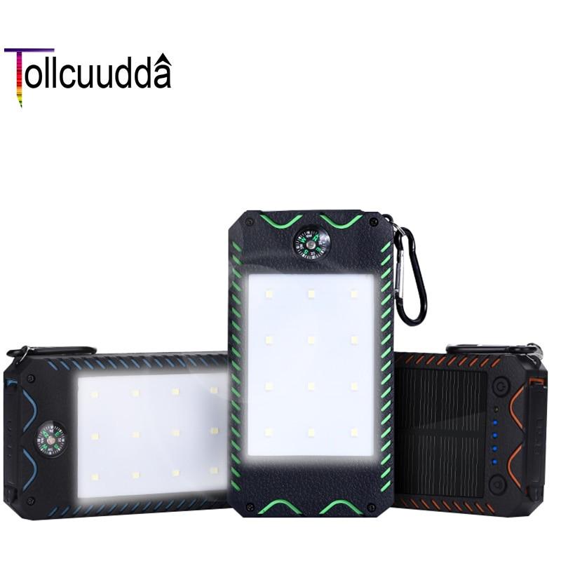 Цена за Tollcuudda Портативный Солнечный Мощность Bank 10000 мАч для Sumsung всех телефонных внешний Батарея Мощность банк Водонепроницаемый 2 USB с фонариком