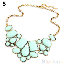 Fashion Women s Resin Bubble Pendant Collar Chain Statement Necklace Multicolor 00FP